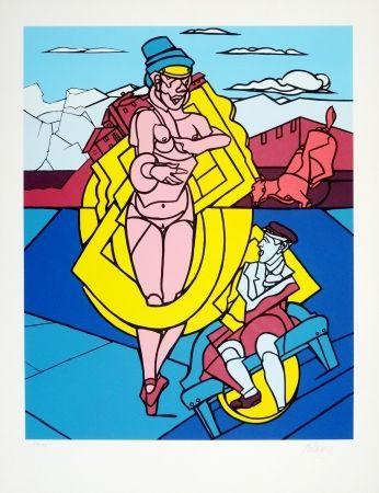 Serigrafía Adami - Femme Et Chien