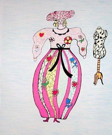 Litografía De Saint Phalle - Femme et mannequin d'atelier de couture
