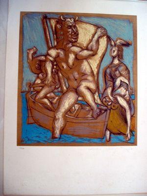 Litografía Picasso - Femme Et Minotaur