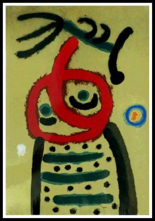 Pochoir Miró (After) - FEMME ET OISEAU