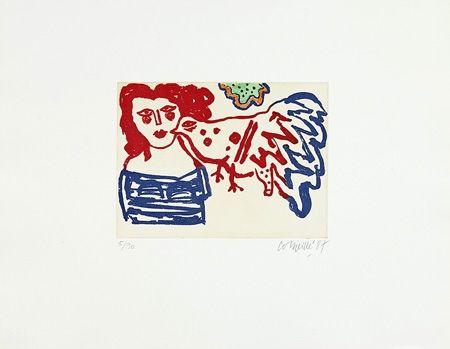 Grabado Corneille - Femme et oiseau