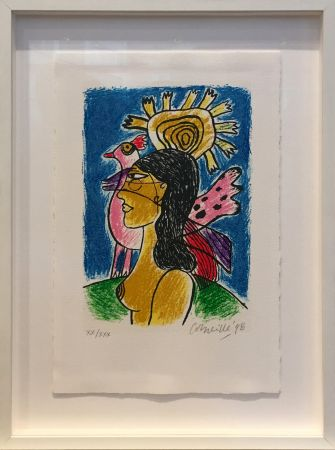Serigrafía Corneille - Femme et oiseaux