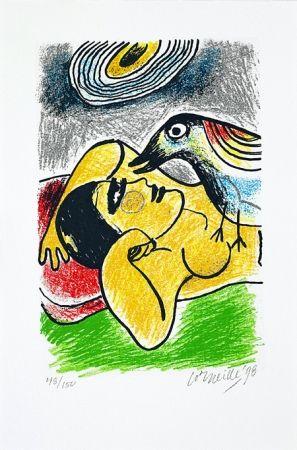 Serigrafía Corneille - Femme et oiseaux II