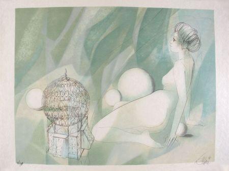 Litografía Valadie - Femme Nue Assise