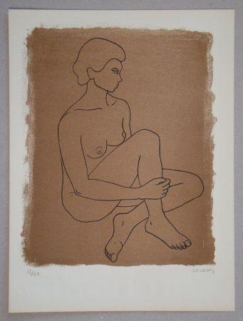 Litografía Vacossin - Femme nue assise