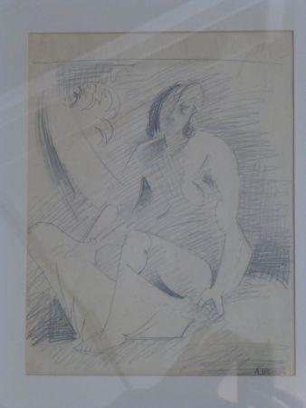 Sin Técnico Lhote - Femme nue assise au palmier