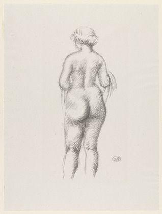 Litografía Maillol - Femme nue de dos tenant une echarpe