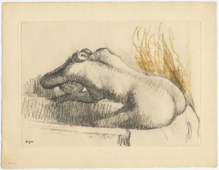 Aguafuerte Y Aguatinta Degas - Femme se lavant dans sa baignoire (vers 1892)