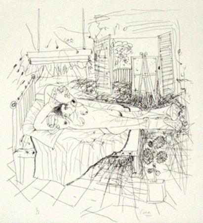 Litografía Cane - Femme sur un lit