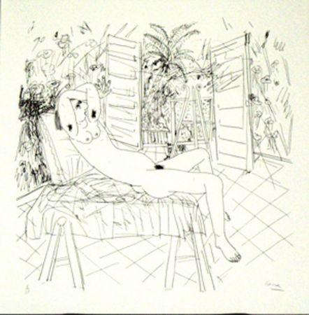 Litografía Cane - Femme sur une chaise