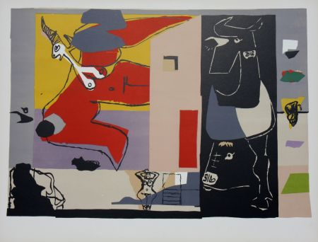 Litografía Le Corbusier - Femme Unicorne et Taureau Noir