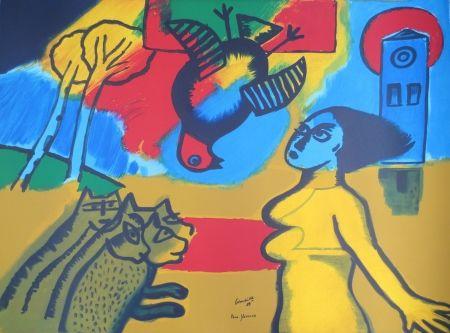 Litografía Corneille - Femme,oiseau,chats.