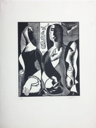 Grabado En Madera Survage - Femmes Cubistes (Paris, 1933)