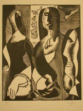 Grabado En Madera Survage - Femmes Cubistique