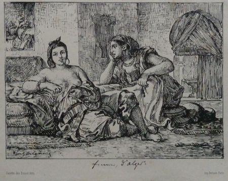Litografía Delacroix - Femmes d`Algers