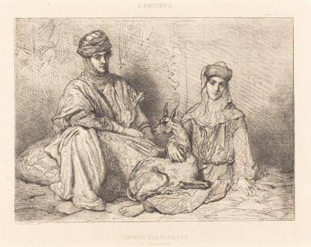 Grabado Chassériau - Femmes mauresques (de Constantine)