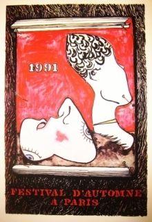 Litografía Johns - Festival d'automne à Paris 1991