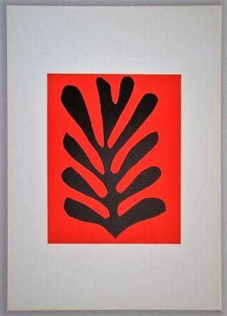 Litografía Matisse - Feuille Sur Fond Rouge