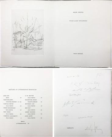 Libro Ilustrado Giacometti - FEUILLES ÉPARSES (Avec 14 gravures de Arp, Miro, Ernst, Man Ray, Masson, etc.) 1965.