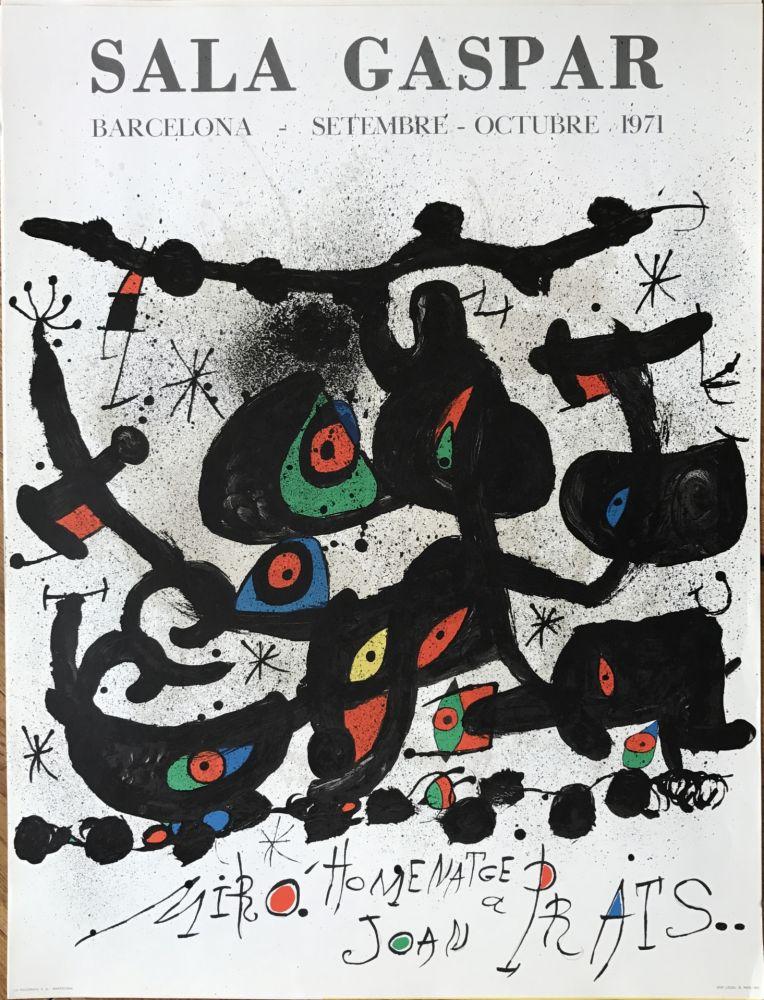 "Litografía Miró - Ffiche pour l' exposition ""Homenatge a Joan Prats"". Sala Gaspar, Barcelona."