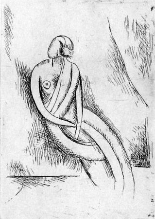 Aguafuerte Carra - Figura femminile