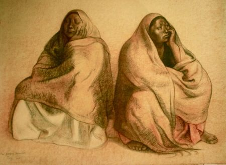 Litografía Zuniga - Figuras sentadas