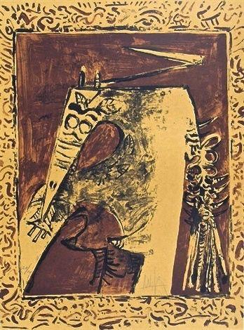 Litografía Lam - Figure ocre
