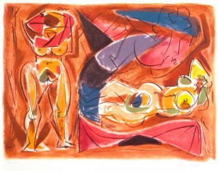 Litografía Masson - Figure rouge