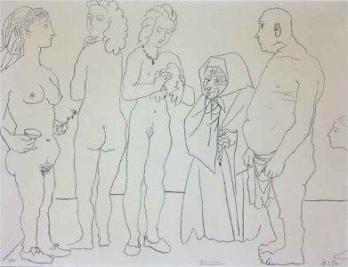 Litografía Picasso - Figures and dove