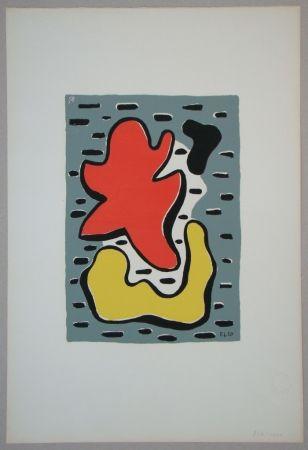 Serigrafía Leger - Figures rouge et jaune, 1950