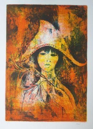 Litografía Lebadang - Fille au chapeau