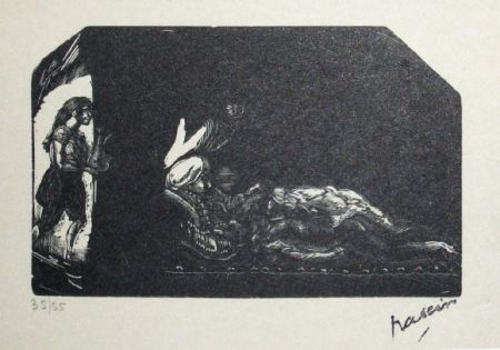 Grabado En Madera Pascin - Fille avec fleur et scene de Harem