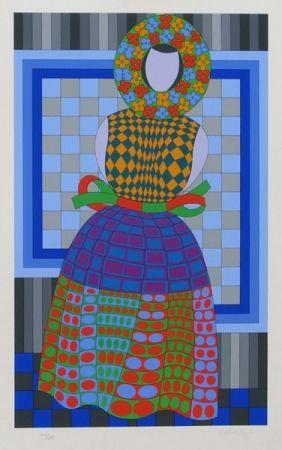Serigrafía Vasarely - Fille Fleur