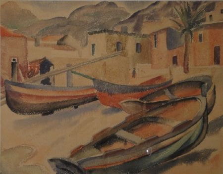 Monotipo Fleischmann - (Fischerboote am Strand eines Ortes am Mittelmeer)