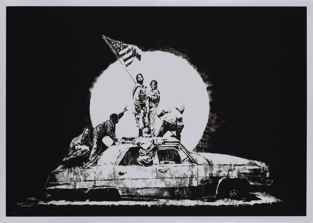 Serigrafía Banksy - FLAG (SILVER)