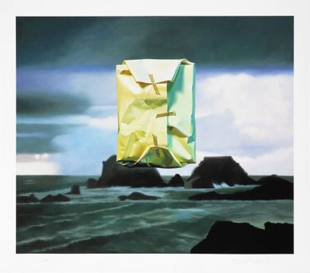 Estampa Numérica Edelmann - Flashlighted floate parcel in stormy ocean and sky