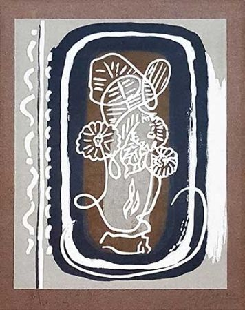 Grabado En Madera Braque - Fleurs blanches