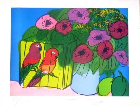 Litografía Ting - Fleurs et perroquets