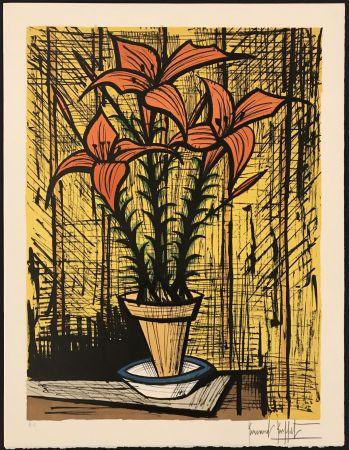 Litografía Buffet - Fleurs oranges dans un pot