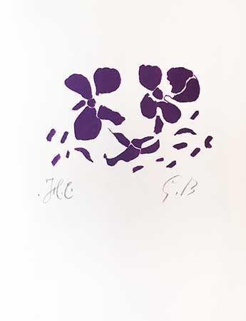 Grabado En Madera Braque - Fleurs Violettes