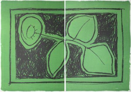 Litografía Hernandez Pijuan - Flor sobre verd / Flower on Green