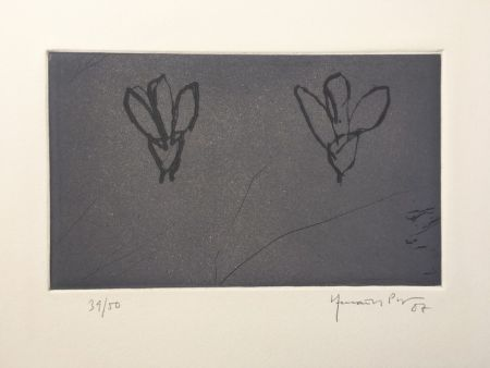 Grabado Hernandez Pijuan - Flores sobre gris