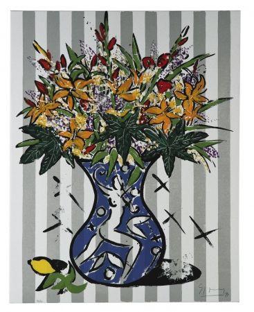 Serigrafía Szczesny - Flowers on Stripes
