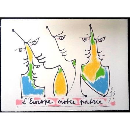 Litografía Cocteau - Fondateurs de l'europe