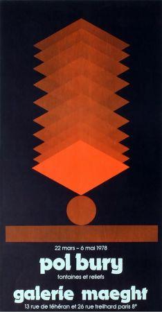 Cartel Bury - FONTAINES ET RELIEFS. Affiche pour son exposition à la galerie Maeght en 1978. Lithographie originale.