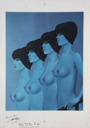 Litografía Labisse - Four Nudes Descending Stairs (BAT)