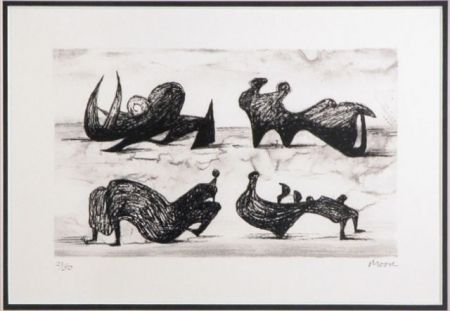 Litografía Moore - Four silhouette figures