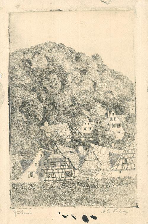 Grabado Philipp - Fränk.  Dorf Eggloffstein