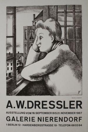 Litografía Dressler - Frau am Fenster