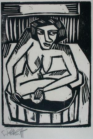 Grabado En Madera Schmidt-Rottluff - Frau in der Wanne (Woman in Bath)